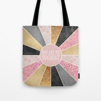 you are my sunshine Tote Bags featuring You are my sunshine by Elisabeth Fredriksson