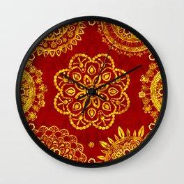 Mandala Gold on Warm Textured Red (pattern) Wall Clock