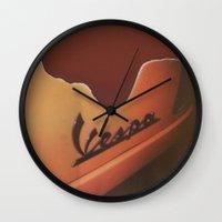 vespa Wall Clocks featuring Vespa by Leandro