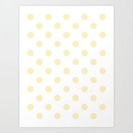 Polka Dots - Blond Yellow on White Art Print