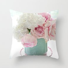 Dreamy Hydrangeas Pink Roses Aqua White Pink Shabby Chic Floral Wall Home Decor Throw Pillow