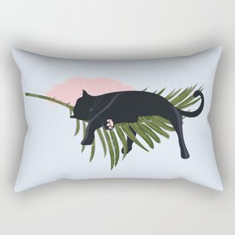 Sleeping Black Cat on Giant Palm Leaf Rectangular Pillow