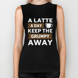 A Latte coffee a day keep grumpy away Biker Tank