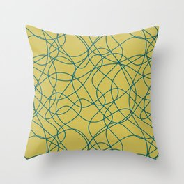 Tropical Dark Teal Scribbled Lines Abstract Hand Drawn Mosaic Pattern Inspired by Sherwin Williams 2020 Trending Color Oceanside SW6496 on Dark Yellow Throw Pillow