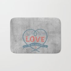 Maritime Design- Love is my anchor on grey abstract background Bath Mat