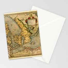 Map Of Denmark 1572 Stationery Cards