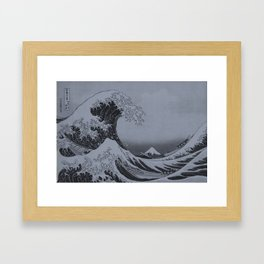 Silver Japanese Great Wave off Kanagawa by Hokusai Framed Art Print