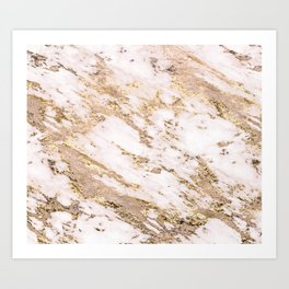 Golden smudge - blush marble Art Print