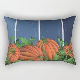 Pumpkin Patch at Night on Blues Rectangular Pillow