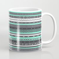 tiffany Mugs featuring Tiffany Turquoise Aztec Print by RexLambo