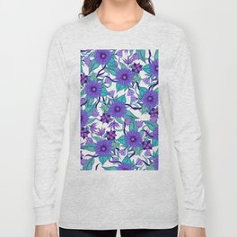 Violet Purple White and Teal Hand Drawn Flowers and Vines Long Sleeve T-shirt
