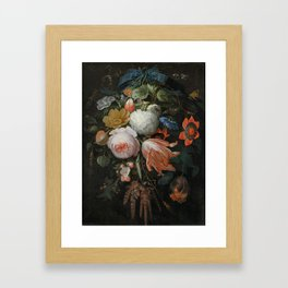 Abraham Mignon - A hanging bouquet of flowers Framed Art Print