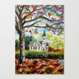 Red Cardinal peaceful white church autumn fall painting Canvas Print