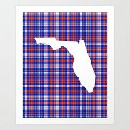 Florida university gators orange and blue college sports football plaid pattern Art Print