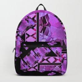 BLACK ART DECO  AMETHYST GEMS   DECORATIVE ART Backpack