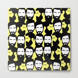 Beards_yellow Metal Print