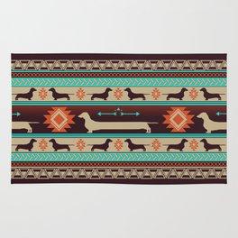 Boho dogs | Smooth Dachshund sunset Rug