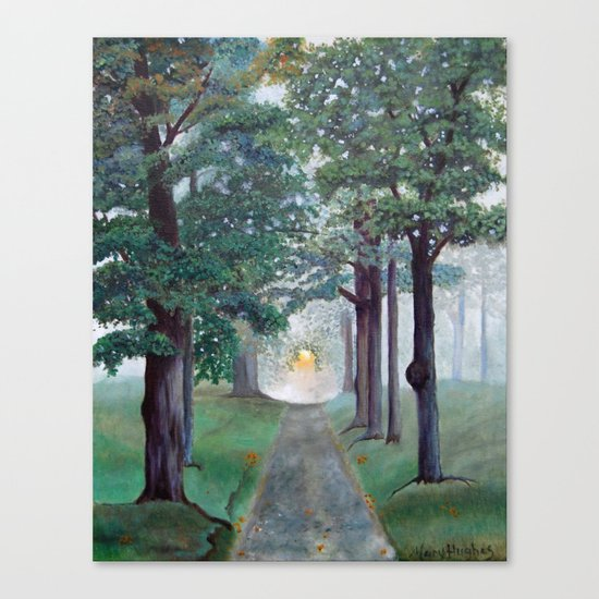 Peaceful Path Tree Painting Canvas Print