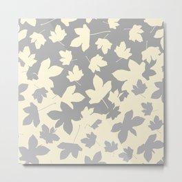 Envelope leaves decor. Grey. off-white. Metal Print