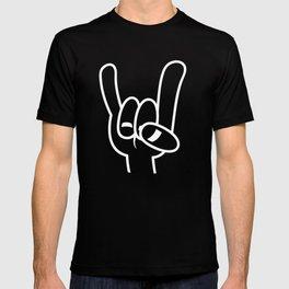 Heavy Metal Devil Horns White Line T-shirt