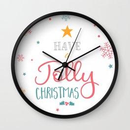 Have A Jolly Christmas Star Mistletoe Wall Clock