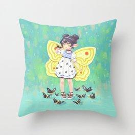 Butterfly Girl Throw Pillow