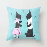 50s Throw Pillows featuring Back to the 50s - Scottish Terriers by Mary Louise Simmons