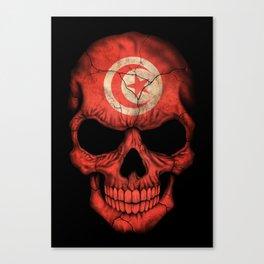 Dark Skull with Flag of Tunisia Canvas Print