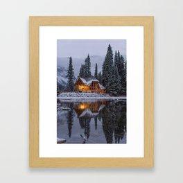 Cabin in Winter Woods (Color) Framed Art Print