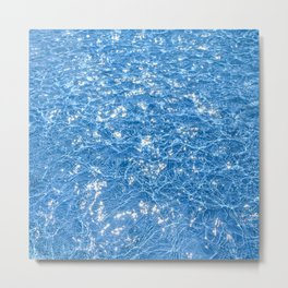 Poolside / Photo of sparkling blue water in bright sunlight Metal Print