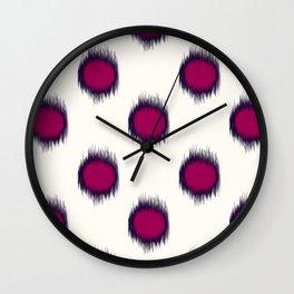 Ikat Dots Raspberry Plum Wall Clock