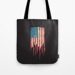 Distressed United States of America USA Flag Grunge Guns Tote Bag