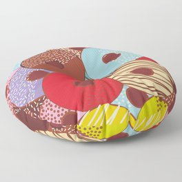 Sweet donuts set with icing and sprinkls isolated, pastel colors on chocolate Floor Pillow