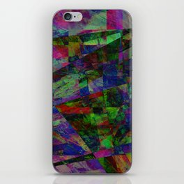 Colourful Memories - Abstract, geometric, textured, dark painting iPhone Skin