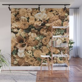 Fantasy flower garden. Delicate blooming elegant rusty gold summer flowers artwork. Vintage glamorous moody artistic floral botanical design in cool tones. Beauty of nature. Wall Mural