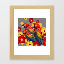 TROPICAL FLORAL MACAWS & RED YELLOW HIBISCUS FLOWERS Framed Art Print