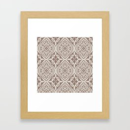 BOHEMIAN PALACE, ORNATE DAMASK: TAUPE and BEIGE Framed Art Print