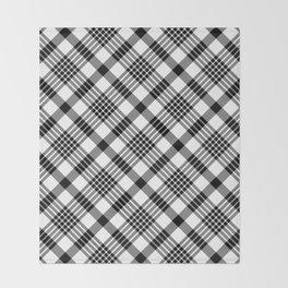 Black and White Plaid Pattern Throw Blanket