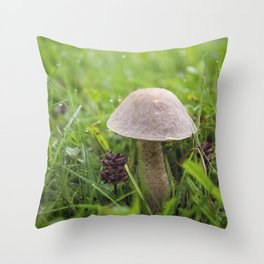 Mushroom in the Morning Dew by Althéa Photo Throw Pillow