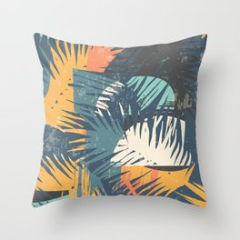 ABSTRACT TROPICAL SUNSET with palm leaves Throw Pillow