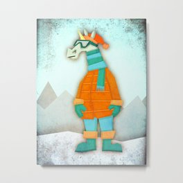 Stay Warm Unicorn Metal Print