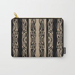 Taupe Black Striped Squiggle Pattern Carry-All Pouch