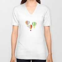 hot air balloons V-neck T-shirts featuring Hot Air Balloons by Jessica Draws