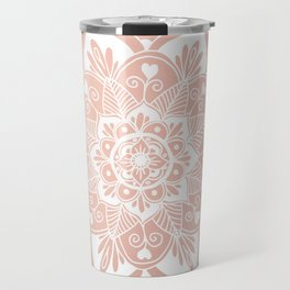 Flower Mandala on Rose Gold Travel Mug