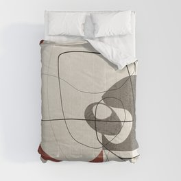 Minimalist Abstract Art Shapes - Scribbles Earth Red 2 Comforters