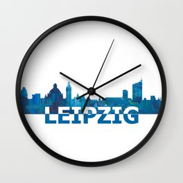 Leipzig Saxonia Skyline Silhouette Strong with Text Wall Clock