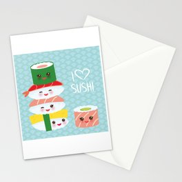 I love sushi. Kawaii funny sushi set with pink cheeks and big eyes, emoji. Blue japanese pattern Stationery Cards