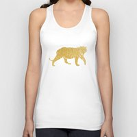 gold foil Tank Tops featuring Gold Foil Tiger by Mod Pop Deco