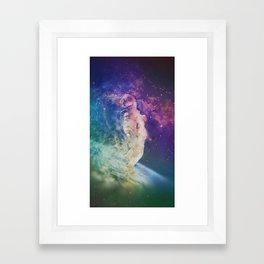 Astronaut dissolving through space Framed Art Print