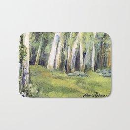 Woodland Landscape Watercolor Vermont Painting Birch Trees Spring Fields Bath Mat